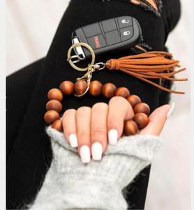Wooden Bead Bracelet Keychains